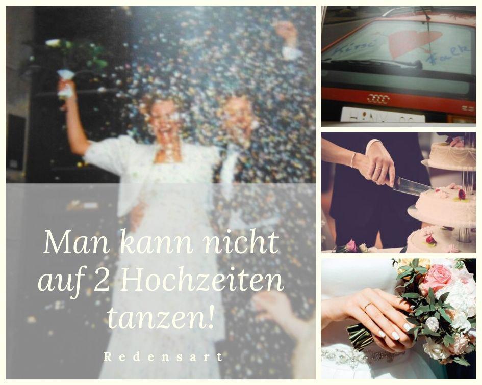 """Fotocollage zu der Redensart """"Man kann nicht auf 2 Hochzeiten tanzen!"""""""