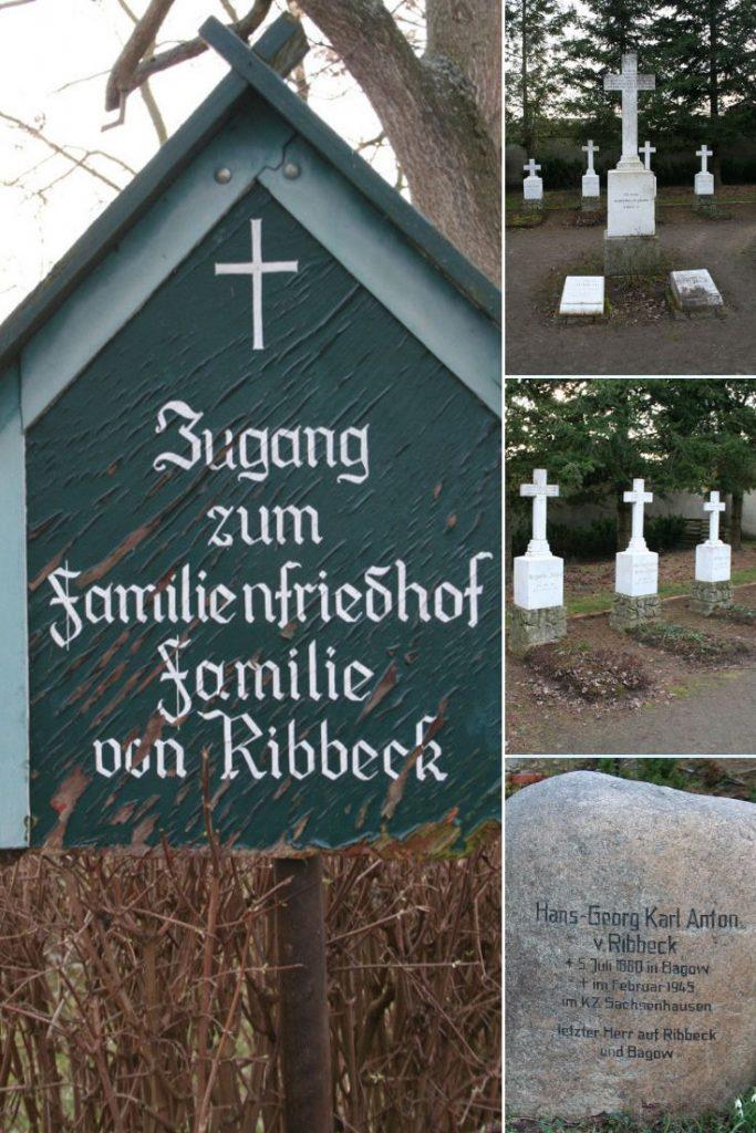Collage von dem Familienfriedhof der Ribbecks im Havelland