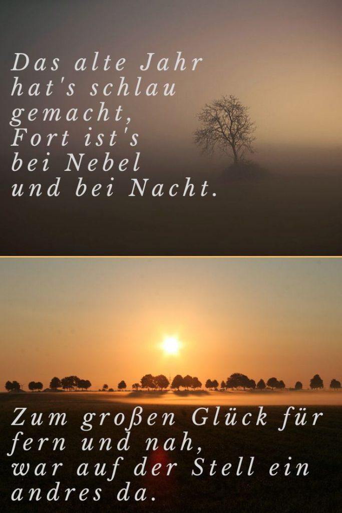 Fotocollage Baum bei Nacht und Nebel und ein Sonnenaufgang zum Thema Jahreswechsel mit einem Zitat im Bild von Hebbel