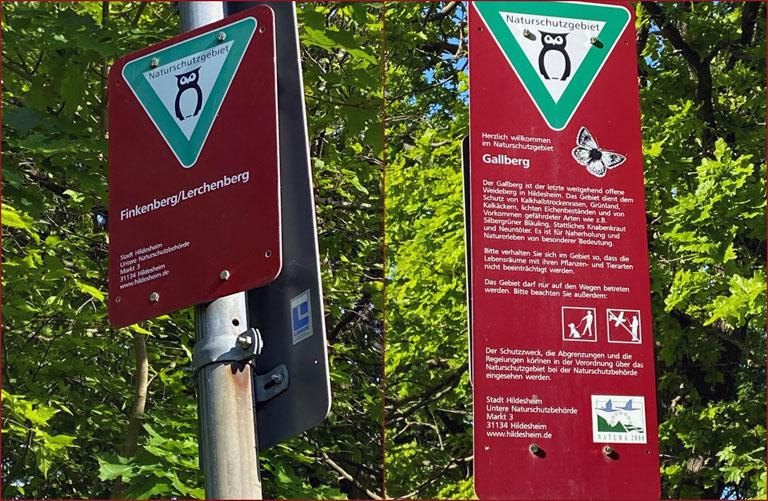 Hinweisschilder Naturschutzgebiet Finkenberg und Gallberg